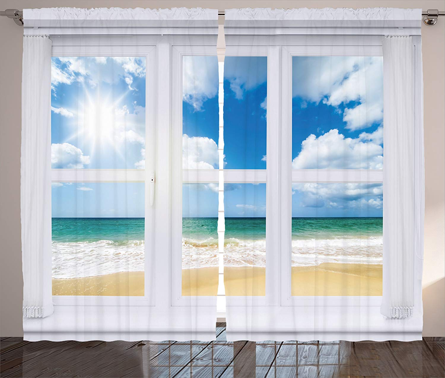 Us 13 62 35 Off House Decor Curtains Beach House Window Overlooking An Ocean View Bright Sunshine Sandy Cloudscape Living Room Bedroom Decor In