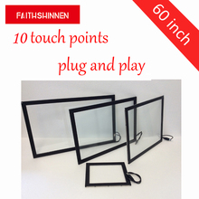 60 inch IR infrared touch screen frame 10 points multi touch frame without glass free shipping 98 inch multi touch screen frame 10 points industrial ir touchscreen for monitor 98 ir touch screen