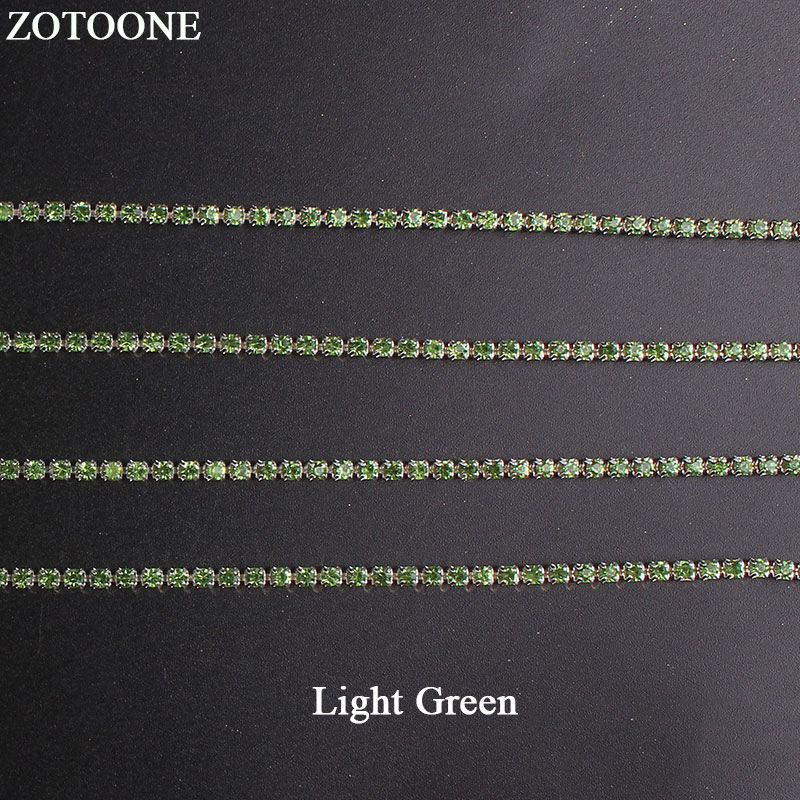 ZOTOONE SS10 Light Green Nail Rhinestone Chain Strass Applique DIY Crystal Trim Stones for Clothes Decoration Sew on Garment Bag in Rhinestones from Home Garden