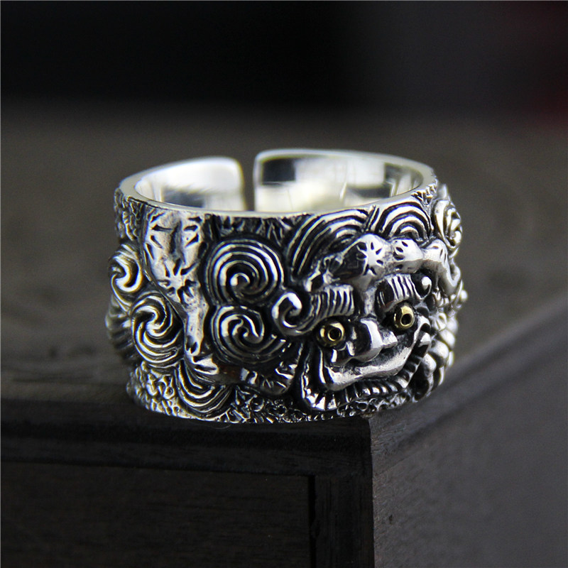 Genuine Solid 925 Sterling Silver Rings Vintage Wide Rings For Men Lucky Pixiu Viking Rings Fine Jewellery Anel Masculino