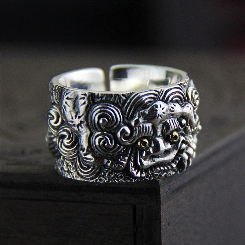 Véritable solide 925 en argent Sterling anneaux Vintage large anneaux pour hommes chanceux Pixiu Viking anneaux Fine bijoux Anel Masculino