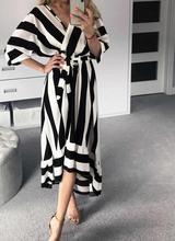 Waist-Controlled Slim One-Piece Dress New 2019 Irregular Deep V Black Striped Womens Maxi Summer Ladies Elegant Vestidos