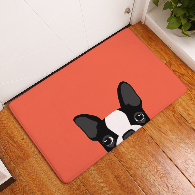 Dog Style 40*60cm Light Thin Anti Slip Mats Brief Cute Cartoon Bulldog Puppy Mats Welcome Home Entrance Door Flannel Rug