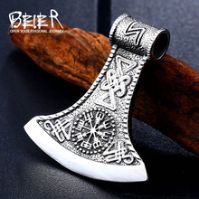 BEIER 316L Stainless steel thor's axe head pendant necklace viking scandinavian norse man punk rock Vintage jewelry BP8-272 beier stainless steel biker jason voorhees hockey halloween mask pendant necklace with red colour antique cool jewelry bp8 362