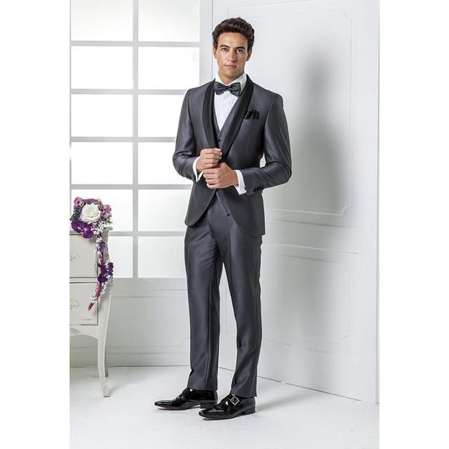 Custom Made Hot Sale Grey Wedding suits Italian mens suits Wedding ...