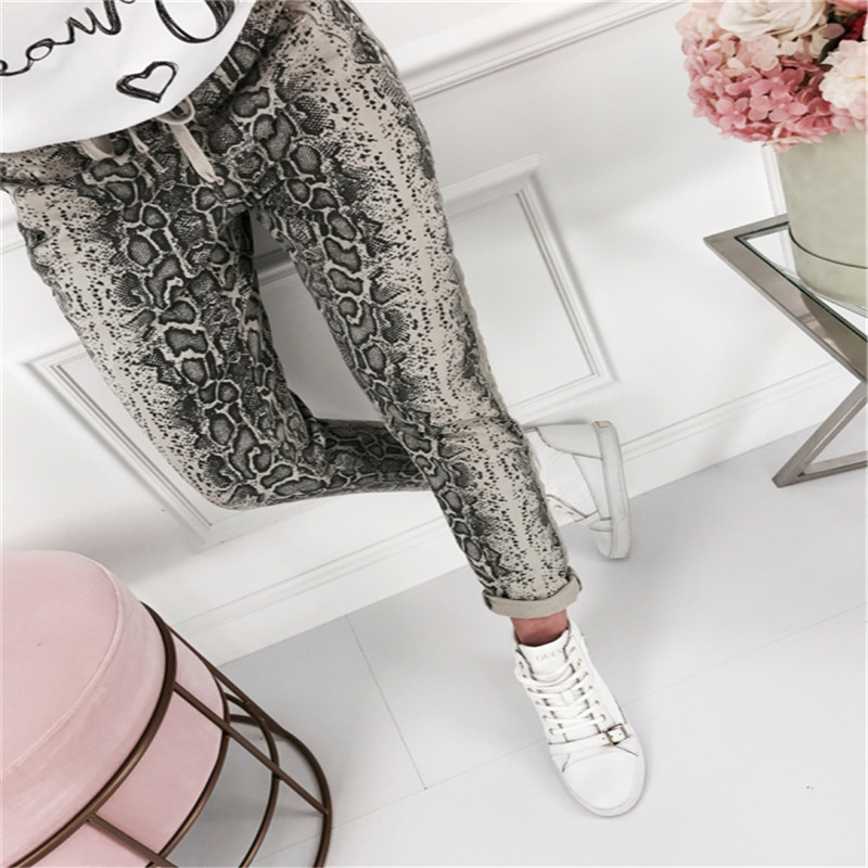Blusas Mujer De Moda 2019 Women Elastic Waist Jeans Harem Pants Ladies Casual Loose Snake Long Trousers