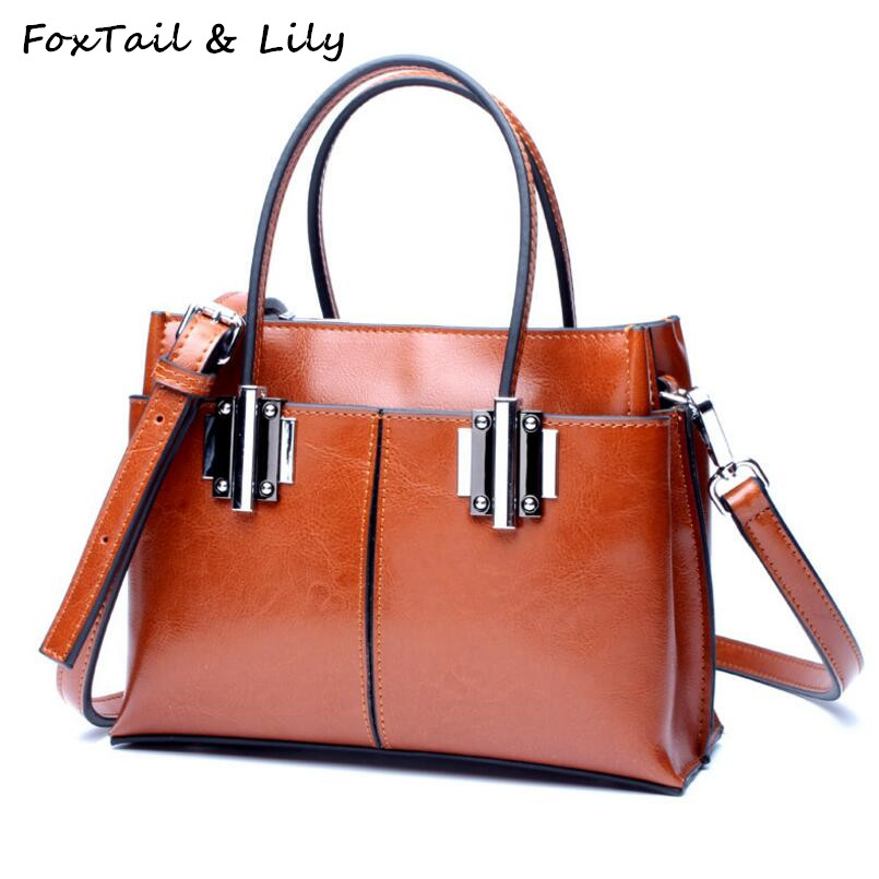 FoxTail Lily Luxury Quality Oil Wax Cowhide Tote Handbags Women Vintage Shoulder Bag Genuine Leather Ladies