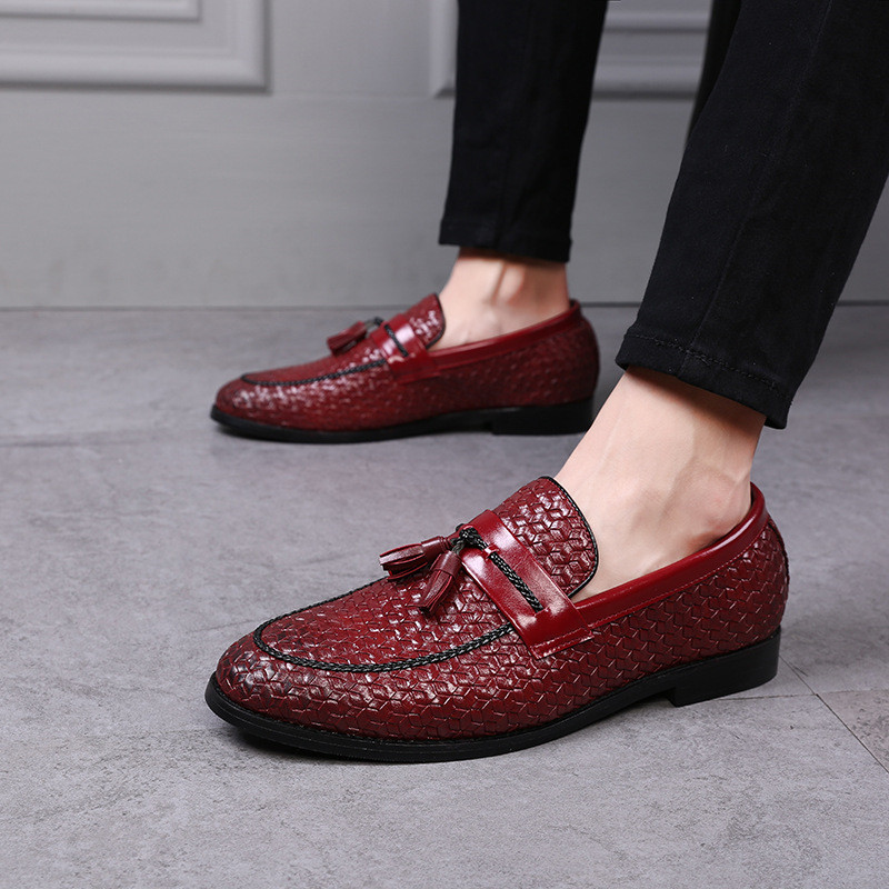 Men Leather Shoes Oxford Micofiber Leather Shoes Casual Tassel Luxury Brand Flats Shoes Casual Footwear Slip On Loafers AA-64