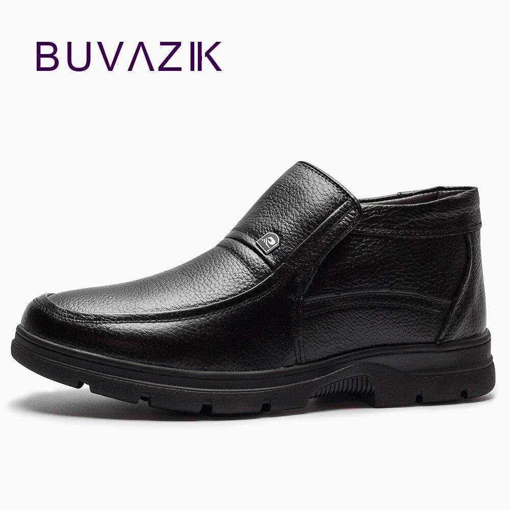 2017 Warme Winter Männlichen Baumwolle Gefütterte Echtem Leder High-top Ankle Schuhe Neue Männer Plüsch Plus Samt Hohe Qualität Schnee Stiefel