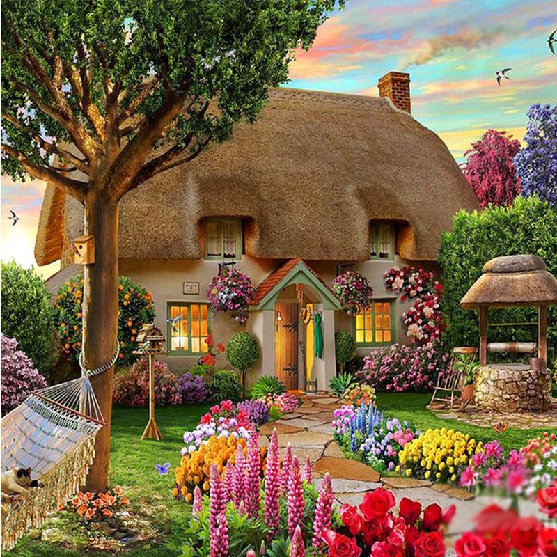 Dijamantna slika Dream Cottage Diy Dijamantni crtež obrtnici Igla - Umjetnost, obrt i šivanje - Foto 2