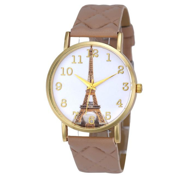 Paris Eiffel Tower Watch Women Quartz Wrist Watch Fashion Casual PU Leather Band