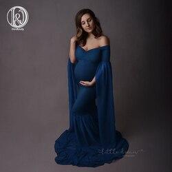 D & J 2019 موضة فستان حمل للصور تبادل لاطلاق النار ماكسي الأمومة ثوب تمديد الأكمام الطويلة يتوهم النساء الأمومة التصوير الدعائم