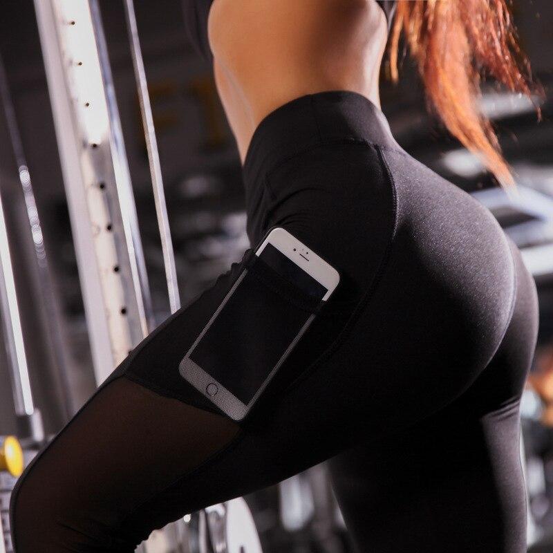Mesh Patchwork Pocket Leggings Women Sportswear 2019 Black Workout Seamless Fitness Leggings Push Up Female Gym Sports Pants