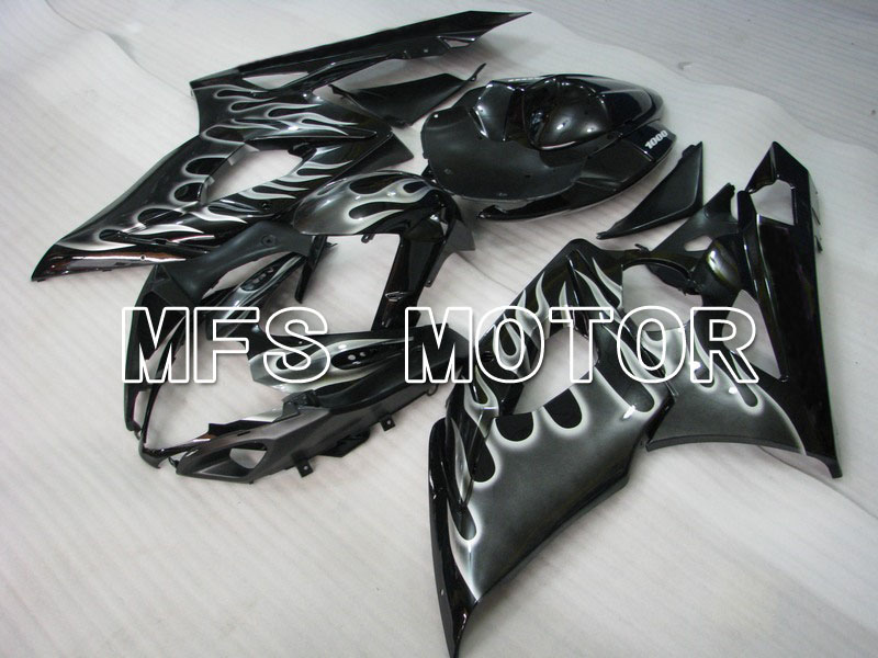 For Suzuki GSXR 1000 K5 2005 2006 Injection ABS Fairing Kits GSXR1000 K5 05 06 - Gray Flame - Black injection molding custom for 2005 suzuki gsxr 1000 fairings k5 2006 gsxr 1000 fairing 05 06 glossy black flat gray dw16