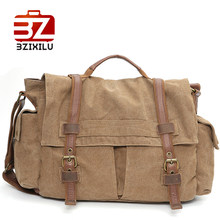 BZIXILU Large Tote Casual Handbag men's sling bag Shoulder Canvas travelling duffle bag Large Capacity Leather crossbody bags(China)