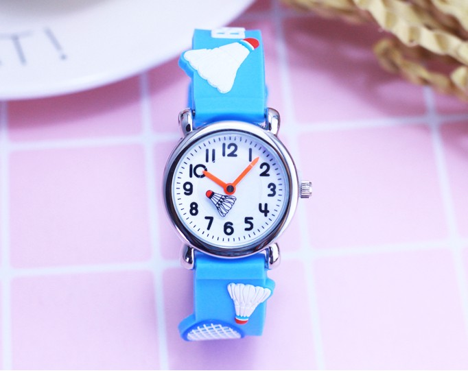 Children Watches Cute Badminton Girl's Watch Kids Quartz Silicone Band Student Wristwatches Students Waterproof Gift Clock