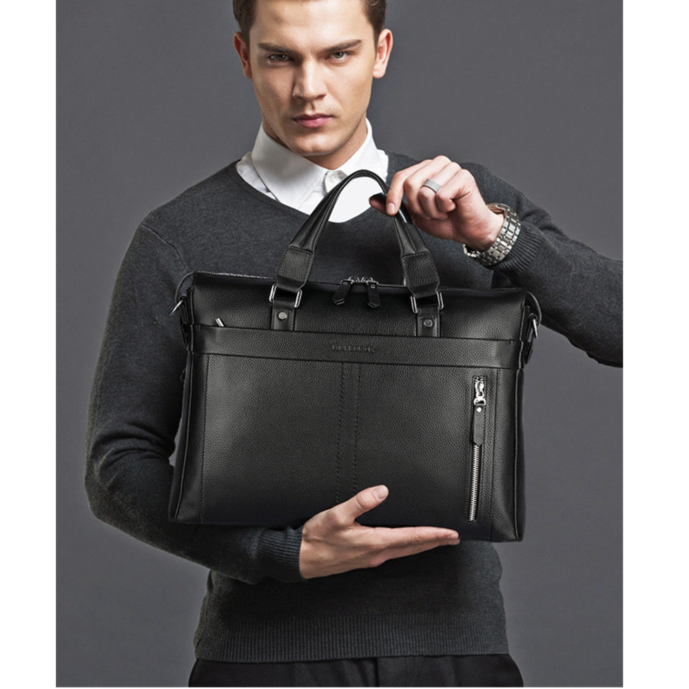 Fashion Real Cowhide Men Shoulder Handbag Men's Briefcase Business Bag Male Genuine Leather Messenger Bag Male Black Laptop Bags