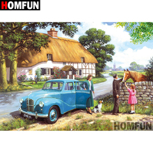 HOMFUN 5D DIY Diamond Embroidery Full Display Country scenery Painting Square/Round Rhinestones Decor Art A08321