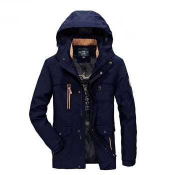 Spring Autumn Military Style Polyester Jacket with Many Big Pocket Coat Men Casual Bomber Jacket Stand Collar Windbreaker