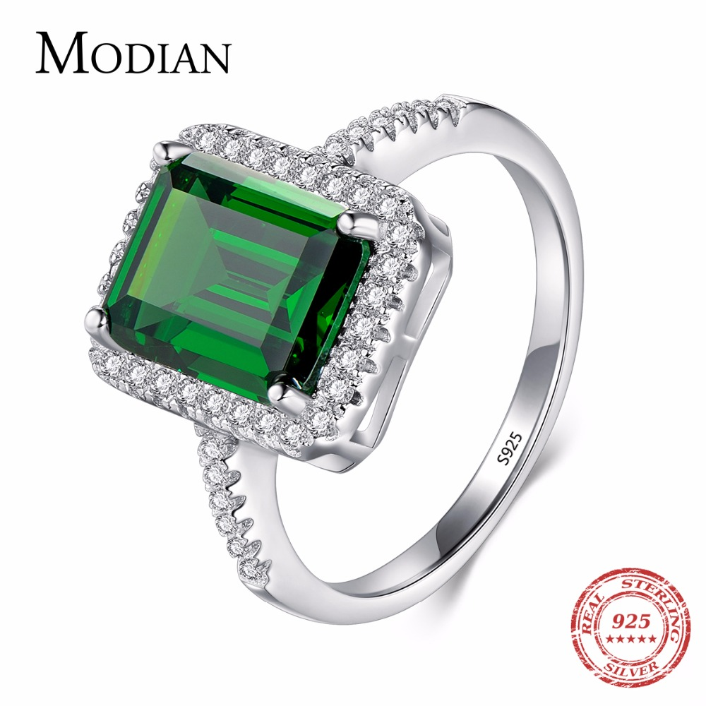 Modian Design Fashion Real 925 Sterling Silver Green Special Cut Ring Wedding Finger Zirconia Jewelry Engagement Rings For Women