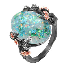 Beautiful Tree Flower Ring Jewelry Black Gold Colorful Green Purple Big Fire Opal Women Dropshipping Bands Finger