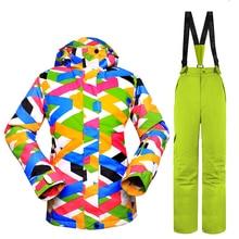 New Skiing Sets Women Ski Suits Jackets + Pants Snowboard Clothing Waterproof Snowboard Ski Jackets Breathable Wind Warm