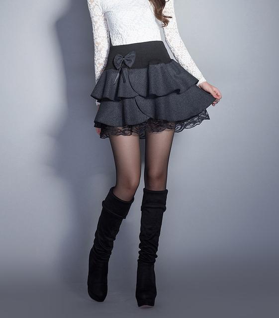 Outono e inverno Saia para as mulheres fino de lã de cintura alta de lã saia curta half-length um guarda-chuva saia em camadas JX077