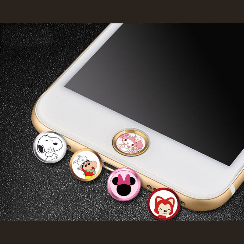 Cute cartoon Aluminum Touch ID Home Button Sticker for iPhone 7/6S/6, 7/6S/6 Plus SE/5S with Fingerprint Identification Function