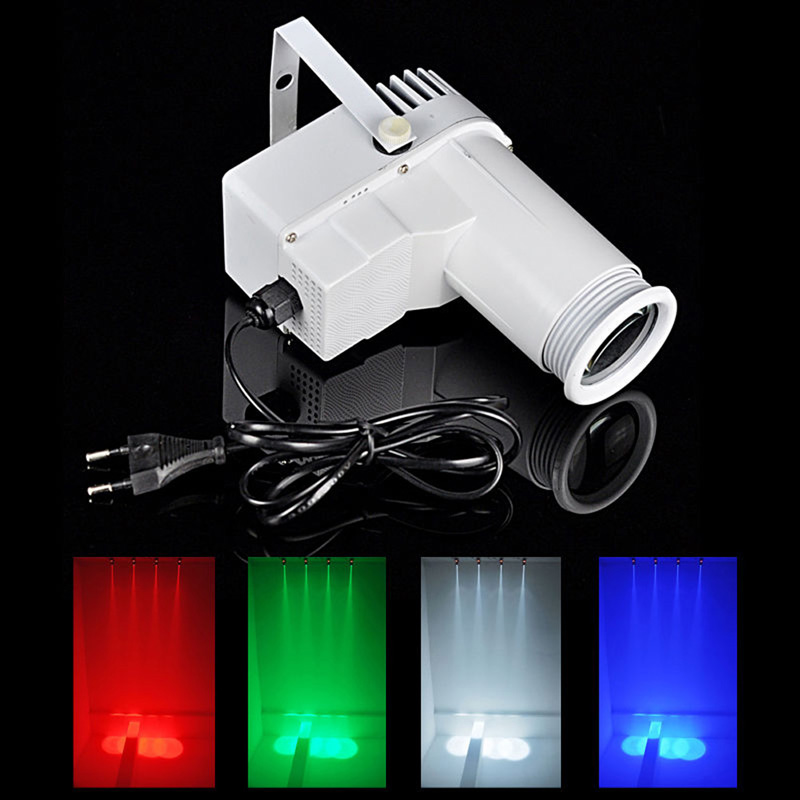 9W LED RGB Spots Light DMX Stage Lights 3 Color Changing Mini DJ Effect Lighting Strobe Effects US Plug White/Black Shell