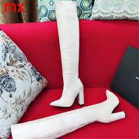 F. N. JACK/Женская обувь, женские сапоги, сапоги на высоком каблуке, замшевые сапоги из коровьей кожи, зимние сапоги выше колена, высокие сапоги с