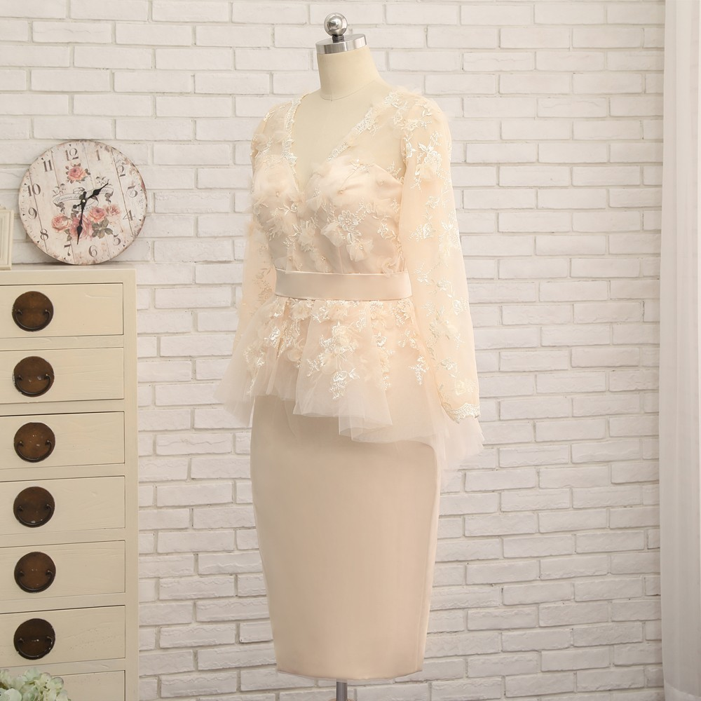 Sheath V-neck Long Sleeves Lace Flowers Short Front Long Back Evening Dress