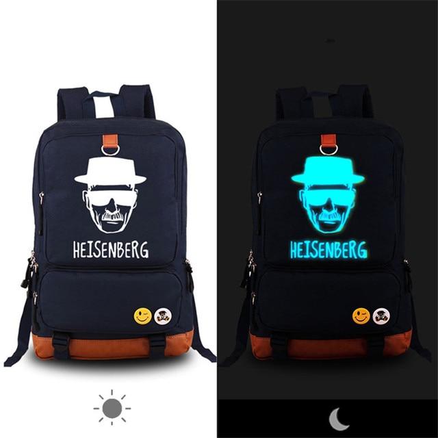 2017 brand Luminous Breaking Bad Design Travel Bags Fashion Printing school Backpacks Leisure korean Backpack Mochila rucksack