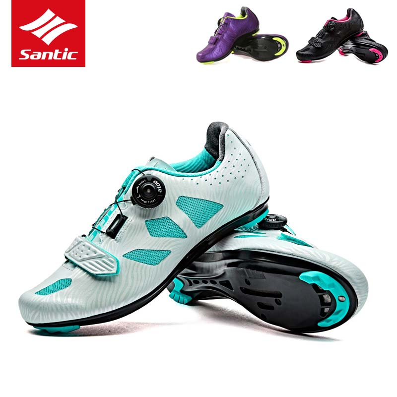 SANTIC Mtb Auto-lock Cycling Shoes carbon fiber sneakers off road bike Ultra Lightweight Self-latching TPU sports mtb bike shoes антиугон auto lock
