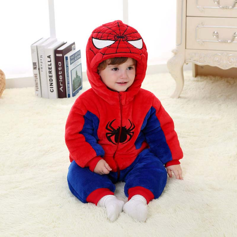 Winter Thick warm Baby Rompers Newborn Baby Boy Girl Baby Suit Infant Animal Spider-Man Flannel Hoodies Jumpsuit Newborn Clothes free shipping winter newborn infant baby clothes baby boys girls thick warm cartoon animal hoodie rompers jumpsuit outfit yl