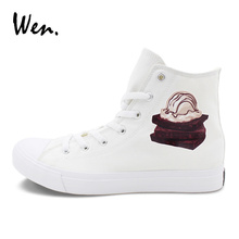 Wen White Sneakers Canvas Flat Ice Cream Chocolate Cakes Original Design Sport Shoes for Men Women High Top Skateboarding Shoes