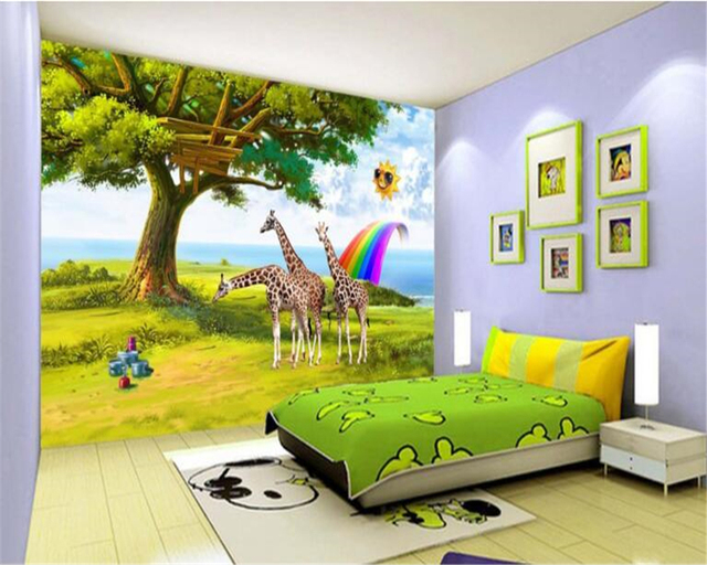 Beibehang customized fashionable scrubable wallpaper hd children beibehang customized fashionable scrubable wallpaper hd children room giraffe sun rainbow background wall 3d wallpaper tapety voltagebd Gallery
