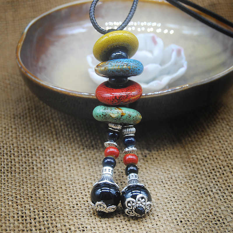Bohemian Ceramic Beads Strand Necklace For Women Colorful Bead Long Tassel Pendants Charm Necklaces Statement Sweater Chain