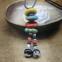 Bohemian Ceramic Beads Strand Necklace For Women Colorful Bead Long Tassel Pendants Charm Necklaces Statement Sweater Chain retro bead decorated feather tassel sweater chain necklace for women