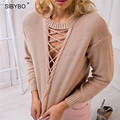 Julissa Mo Hollow Out Sweater Women Casual V Neck Long Sleeve Short Jumper Sexy Khaki / Black Pull Femme Lace Up Pullover