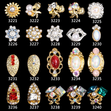 10new Alloy 3D Nail Art Stickers shell starfish tassel pendant jewelry Glitter nail gel tools DIY Rhinestone 3321-3340