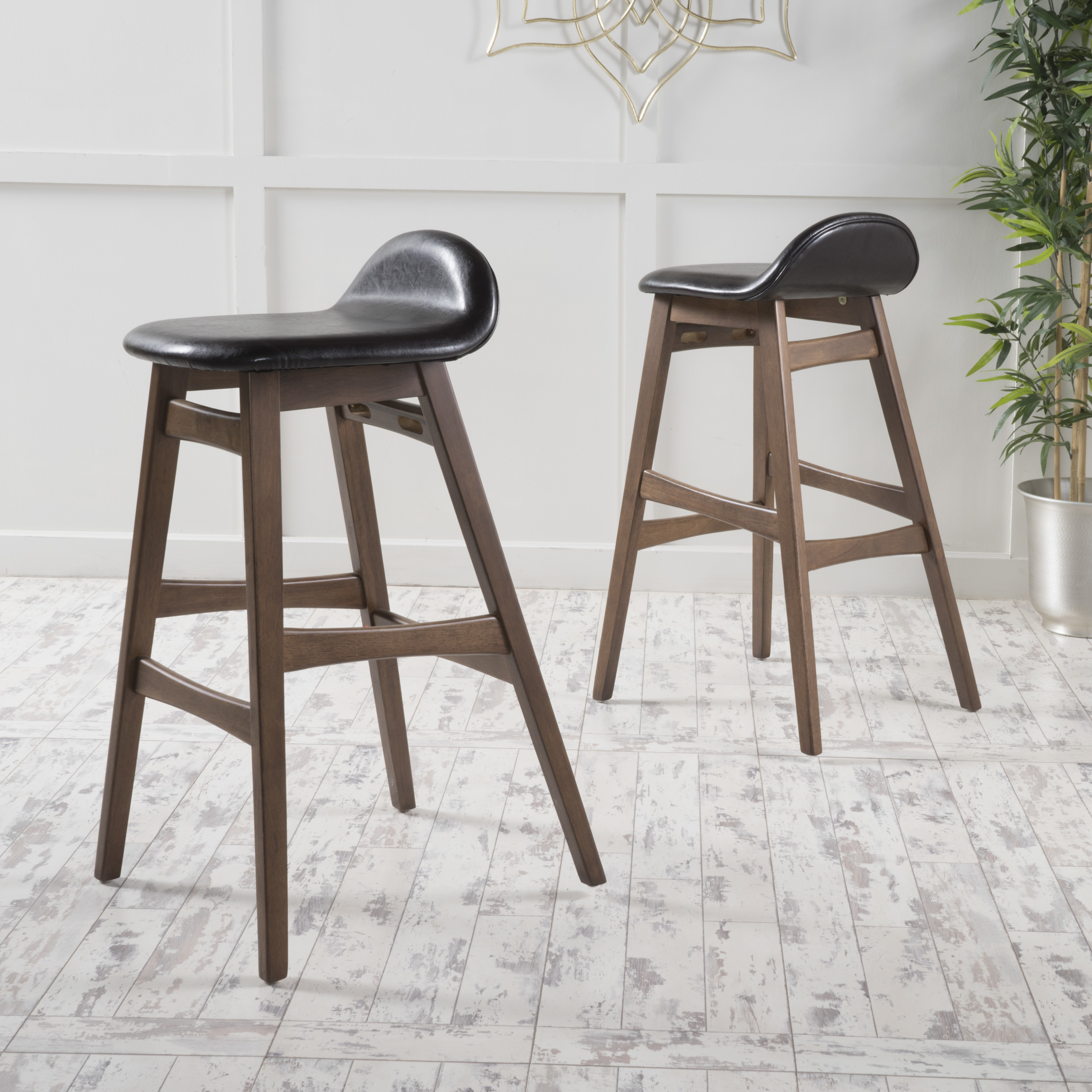 Margaret Dark Brown Leather/ Walnut Finish Bar Stool (Set of 2) ...