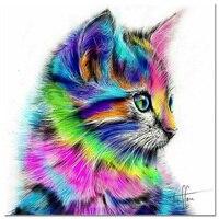 DIY Diamond Painting Cross Stitch Colorful Cat Needlework 5D Diamond Mosaic 3D Diamond Embroidery Painting Rhinestones