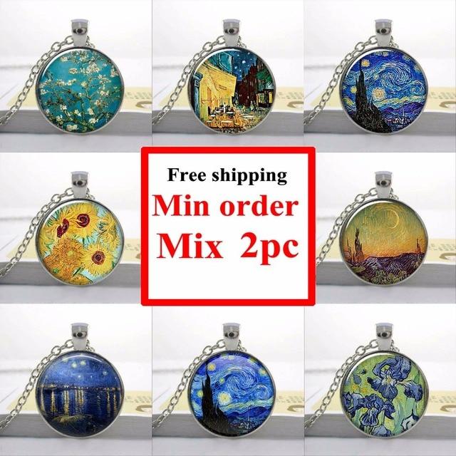 Ван Гог миндаль филиал в цветение искусство кулон, свадебные украшения, свадебные знаменитая картина ожерелье HZ1