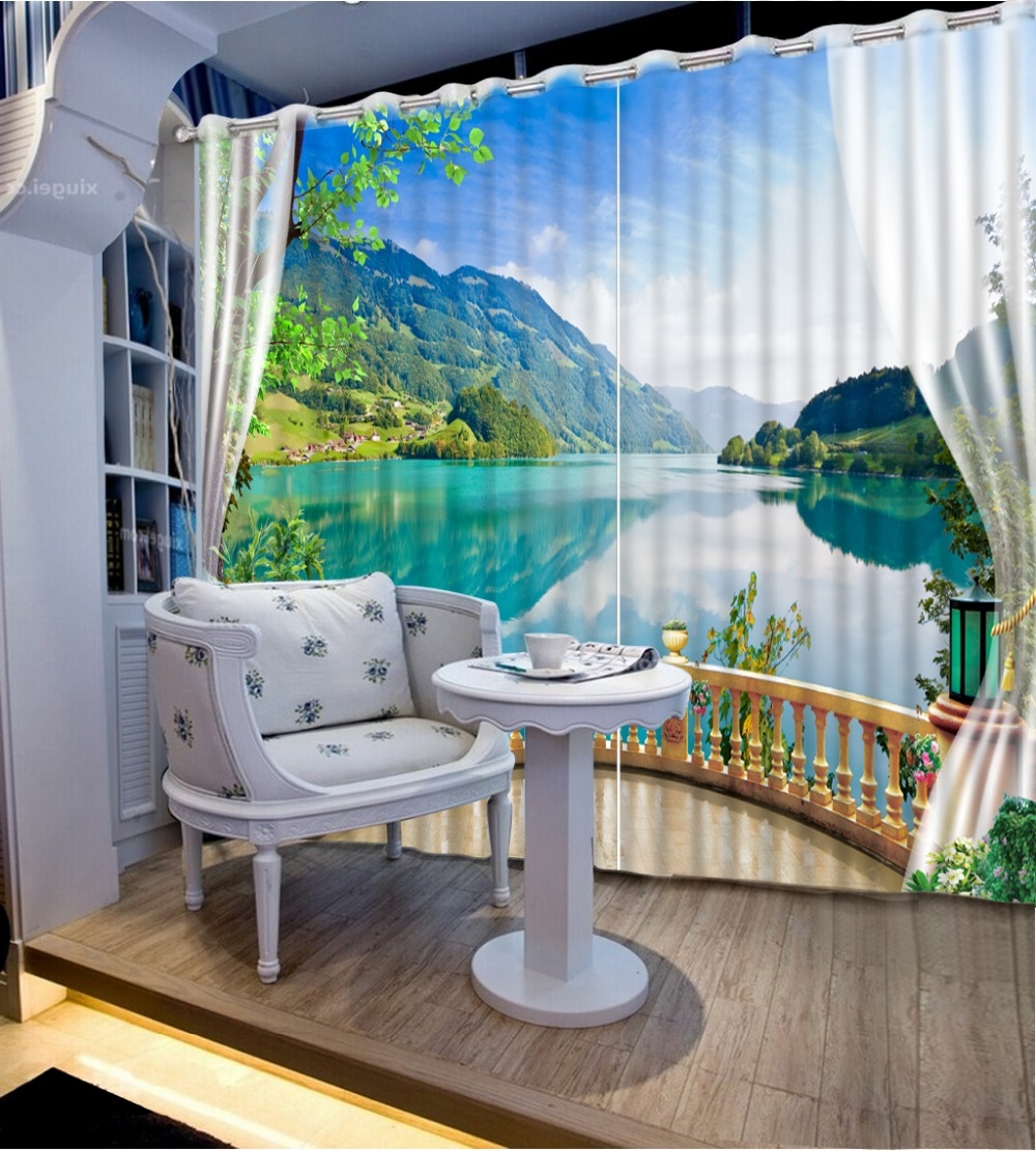Beautiful Lake view Digital Print 3D Blackout Curtains For Living room Bedding room Drapes Cotinas para sala CL-DLM802Beautiful Lake view Digital Print 3D Blackout Curtains For Living room Bedding room Drapes Cotinas para sala CL-DLM802