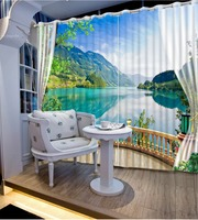 Beautiful Lake view Digital Print 3D Blackout Curtains For Living room Bedding room Drapes Cotinas para sala CL DLM802