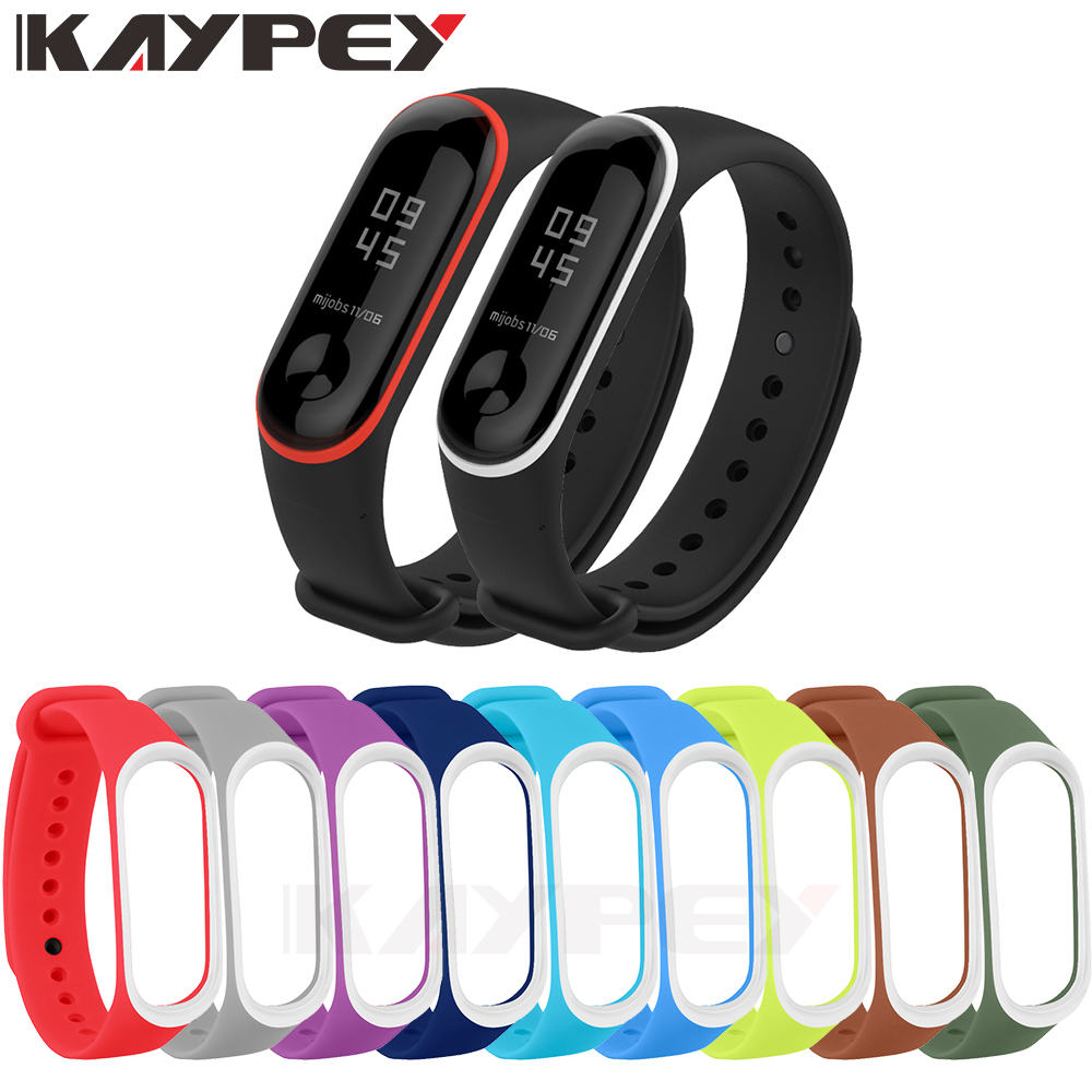 Colorful MiBand 3 4 Silicone Wrist Strap Bracelet Double Color Replacement Watchband For Original Xiaomi Mi Band 3 4 Belt