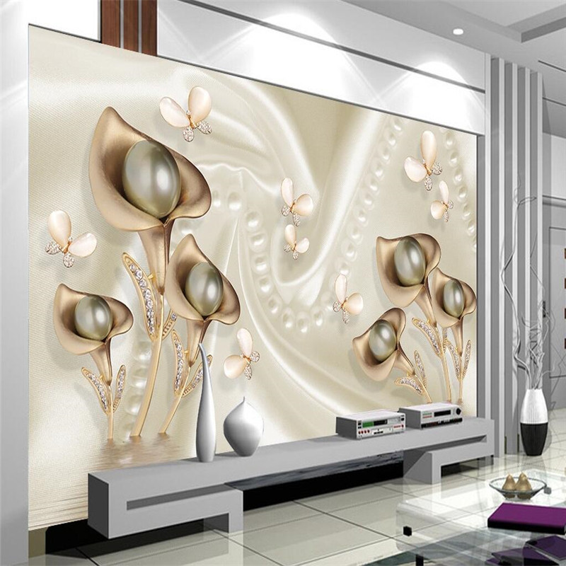 Custom Any Size Modern Wall WallPaper Pearl Butterfly Silk