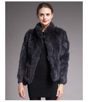 High Quality Real Fur Coat Fashion Genuine Rabbit Fur Overcoats Elegant Women Winter Outwear Stand Collar Rabbit Fur Jacket