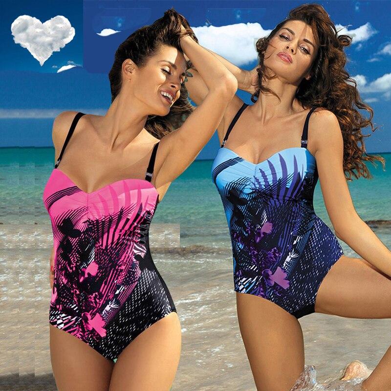 One-Piece Swimsuit Bikini Beachwear Print Push-Up Plus-Size XXL Women