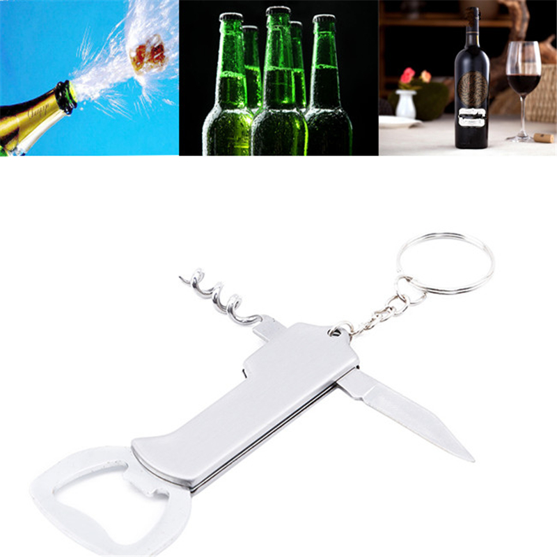 Creative Wine Bottle Opener Keychain Stainless Steel Multifunctionial Wooden Handle Opener Portable Wine Beer Opener